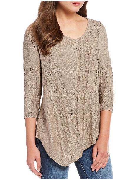 Democracy V-Neck asymmetrical hem cable mix sweater - $78.00