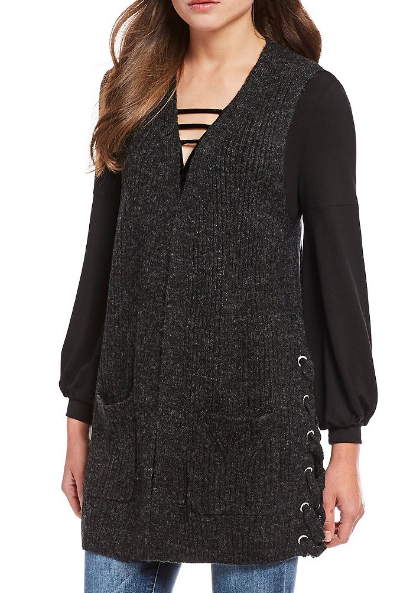 Democracy side lace up open front sweater - $68.00