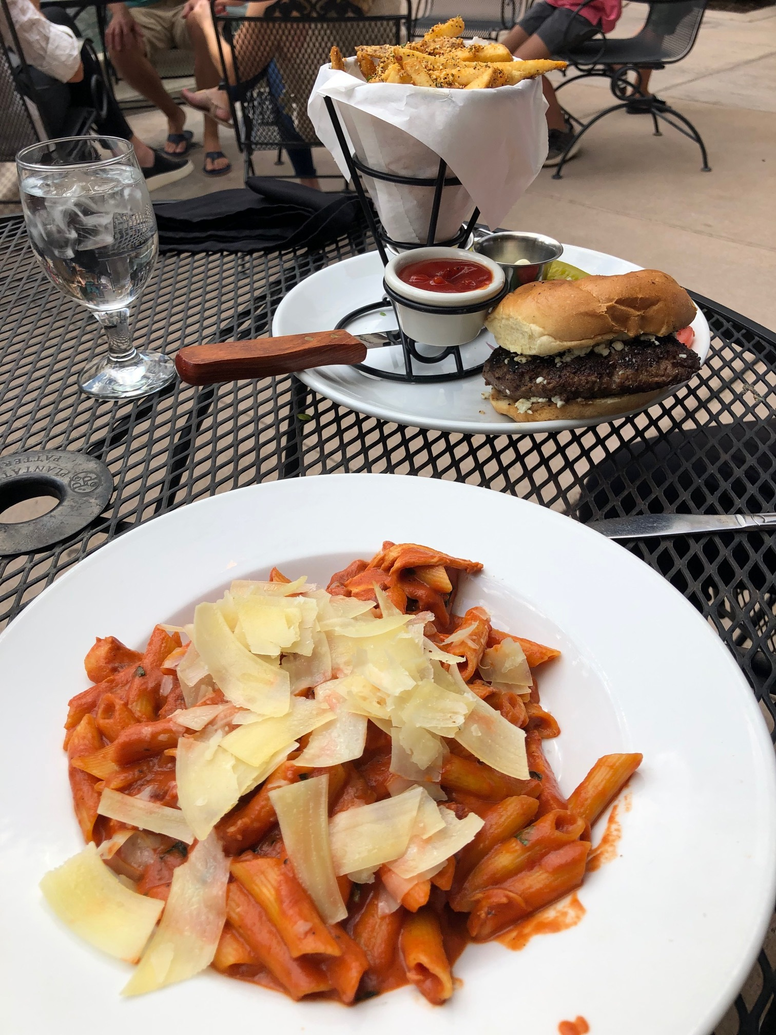 Blue cheese burger with fries and chicken penne pasta - so delicious!!