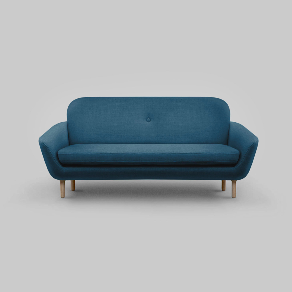 Cup Sofa   Client: Fab  2014  Clabots designed the Cup Sofa to have its own personality, while also transforming and adapting to different settings. Its sculptural profile was combined with clean and graphic lines. This created a key silhouette that could range from playful to refined, depending on the sofa color (6 options) and the style of the sofa's leg (2 options).