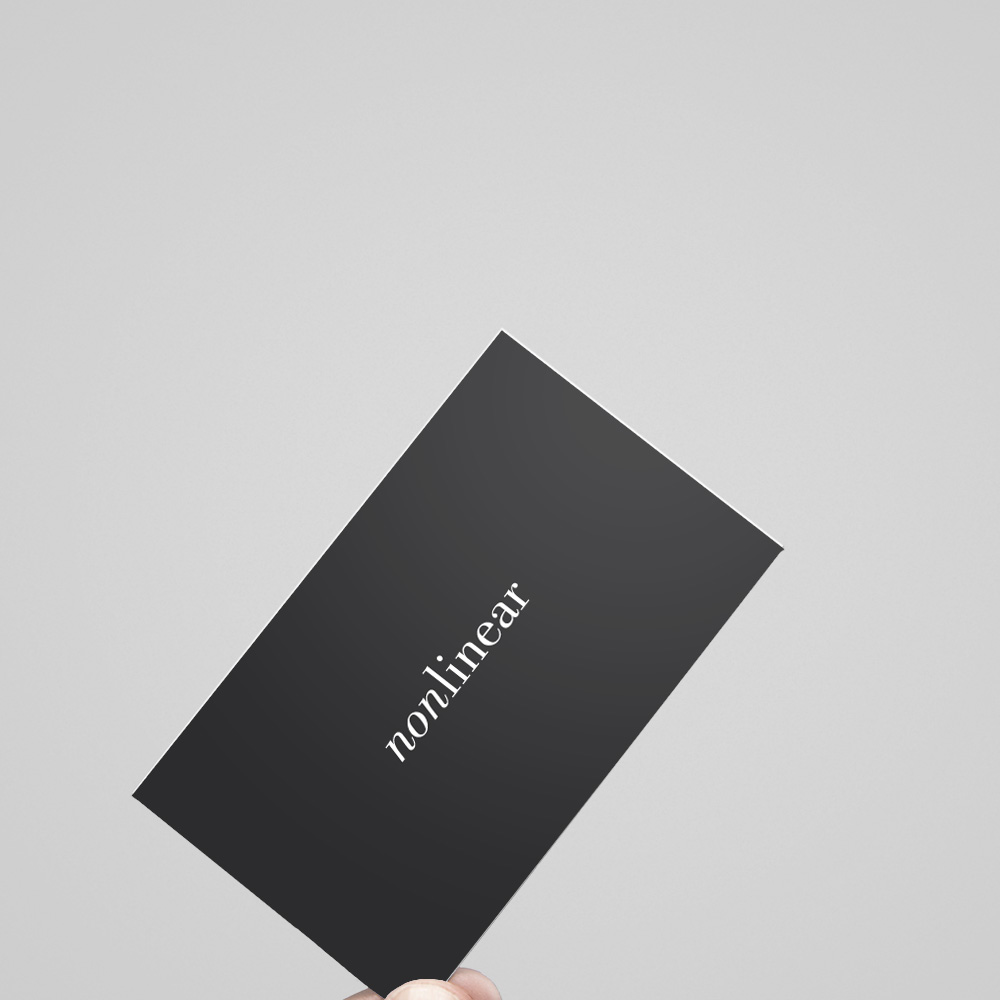 Nonlinear Branding   Client: Nonlinear 2010  In 2010, Clabots opened the boutique creative studio,  Nonlinear Studio.  Clabots designed the logo and branding for the studio.