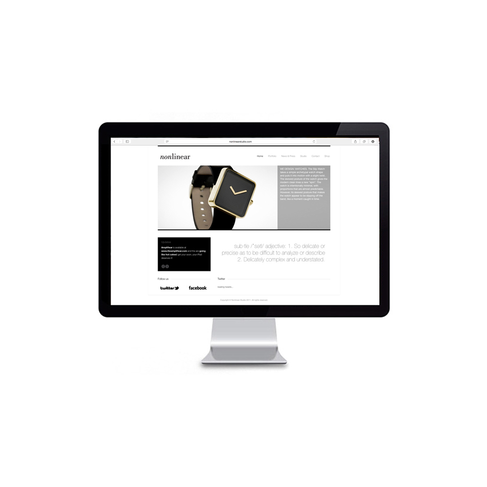 Nonlinear cCommerce   Client: Nonlinear 2010  Clabots designed and built Nonlinear's eCommerce platform for its self titled watch brand  Nonlinear.  For this, Clabots art directed all photography and coded a custom theme for the site in CSS.