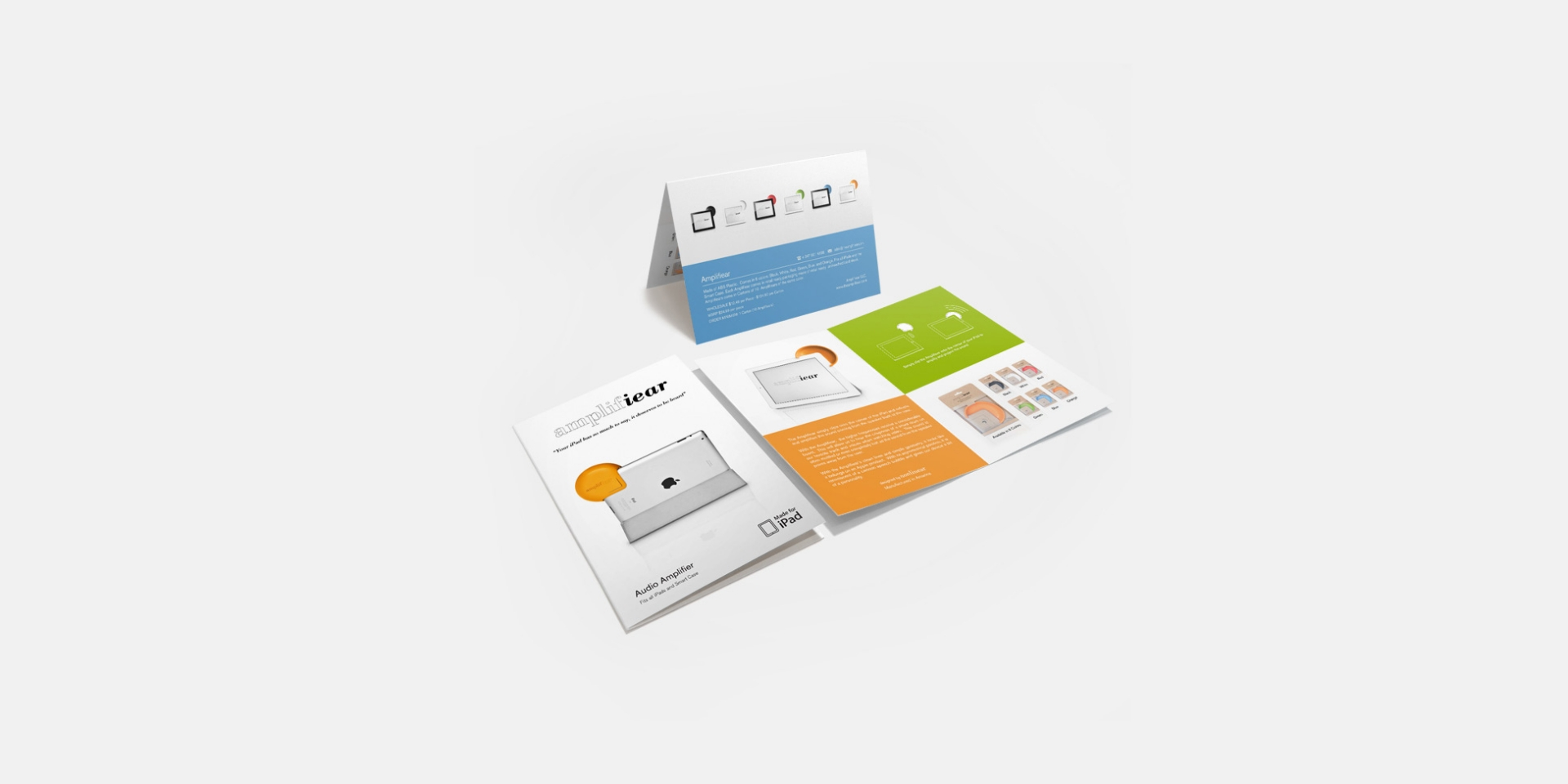 """Amplifiear Branding   Client: Amplifiear 2012  Clabots was involved in all aspects of building the Amplifiear brand. He developed all collateral materials including business cards, stationary, order forms, brochures, and packaging. The card stock of the packaging the was responsibly farmed from renewable forests, so this materiel sensibility was carried through out the design of all collateral materials and was contrasted with the playful """"POP"""" colors of the product. Clabots was also responsible for the art direction and retouching of all brand imagery and the design and execution of the Amplifiear web store."""