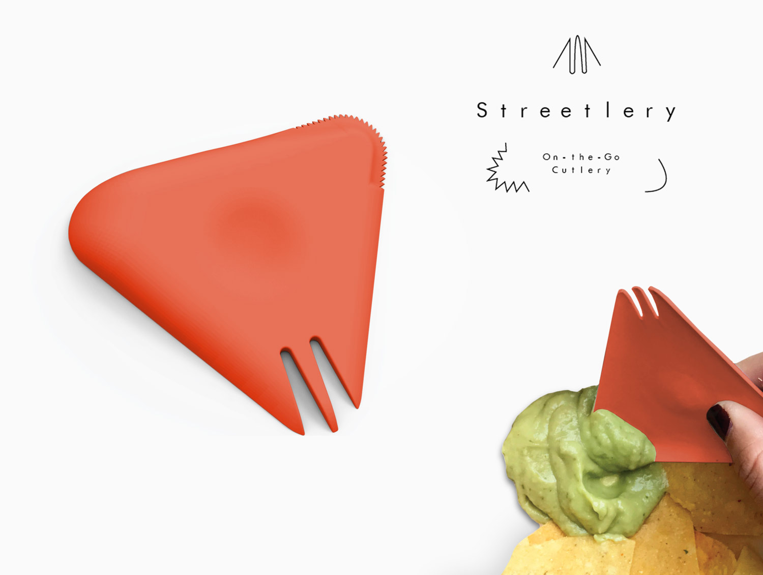 Project: Streetlery Pratt 2016   Student: Zoe Berman    Class: Design in Context Industrial Design Senior Studio  Zoe Berman observed the amount of waste created by the growing trend of food trucks. Honing in on Cutlery, she developed a 3-in1 product that uses 50% less material than a traditional plastic fork spoon and knife given away with most takeaway meals. She went further to find a bioderadable plastic substitute four the product lessening its enviornmental foot print even further.