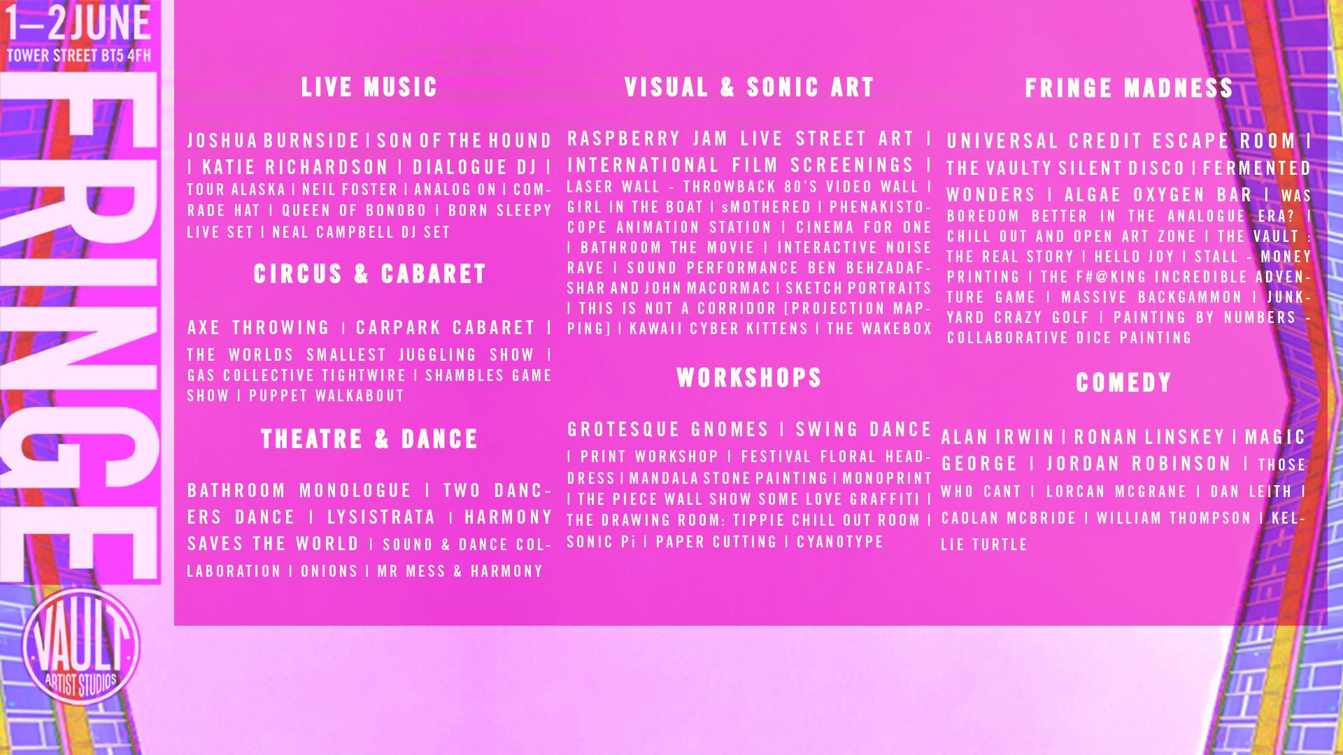 Vault Artist Studios Fringe Festival 1-2 June 2019