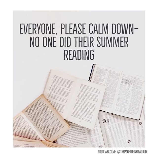 As my teenager and all of her friends freak out about starting school tomorrow just a friendly reminder everything will be okay. There is a serious amount of speed reading going on today 😂. . Cheers to all the mamas at drop off this week... 🎉🥂 . . . . . #backtoschool #speedreading #teenager #tween #momlife #herviewfromhome #momofteen #writerscommunity #shakespeare #eleanorandpark #silence