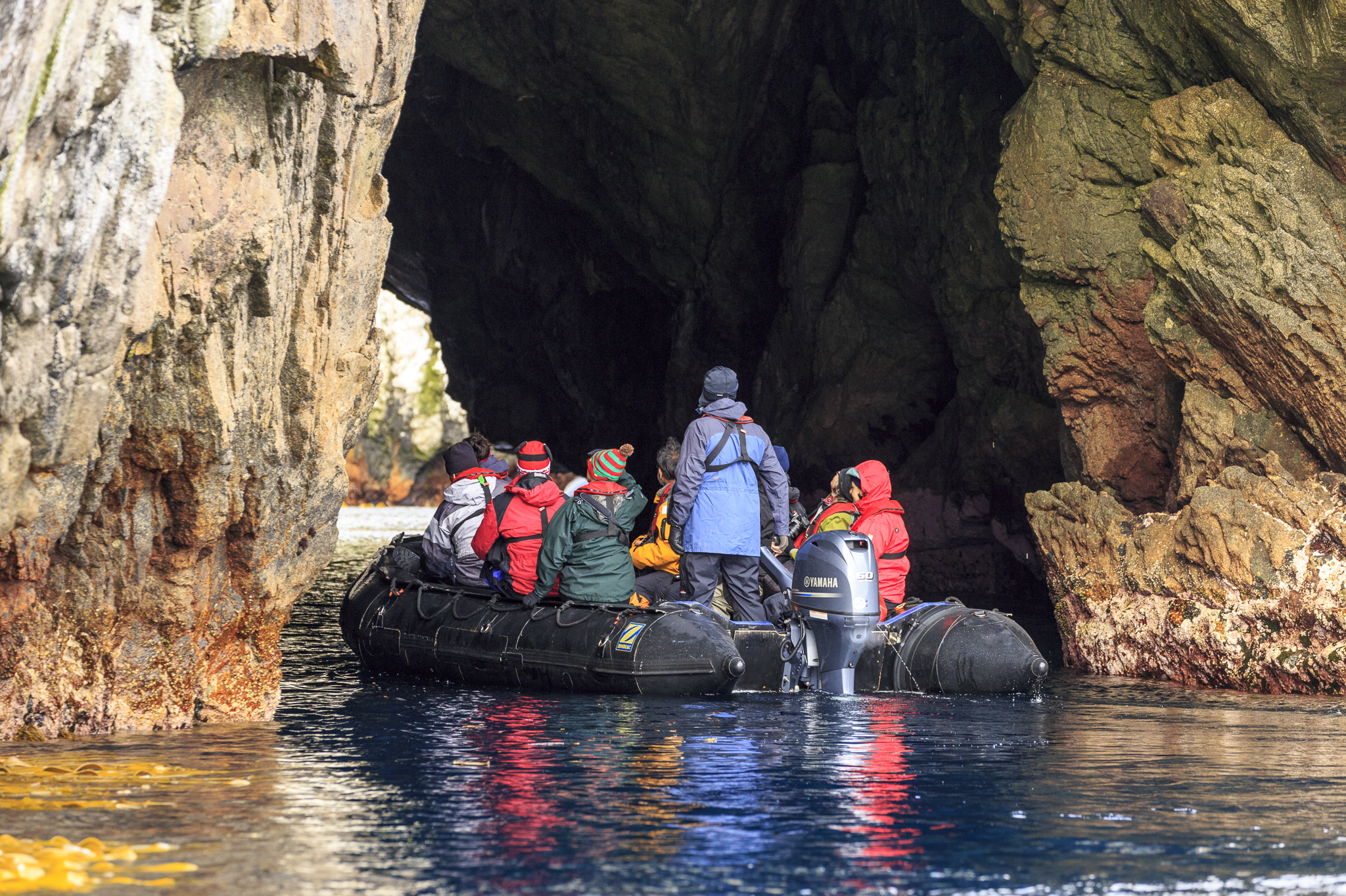Zodiac cruising sea caves on The Snares