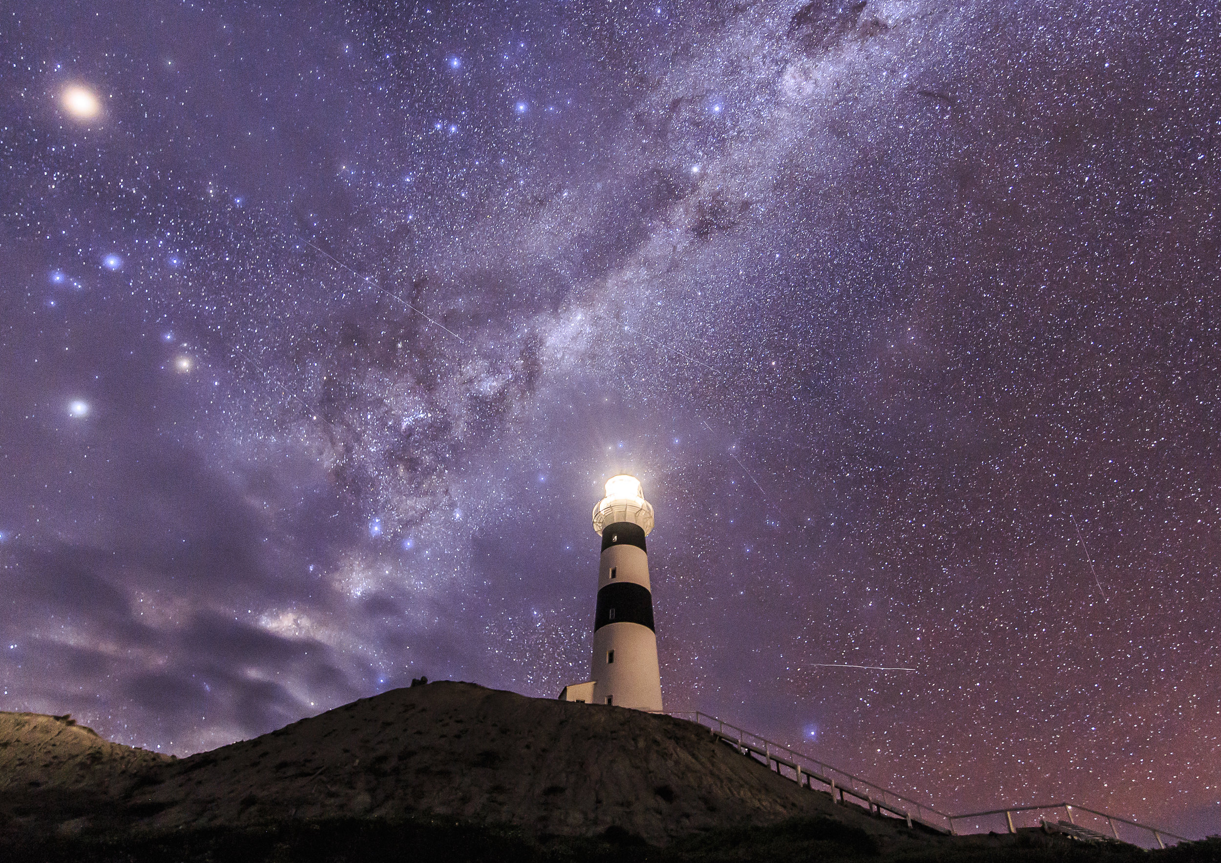 Cape Campbell under the night sky.