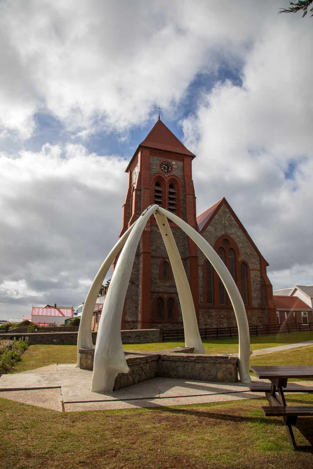 Christ Church Cathedral and whale bone arch - Stanley