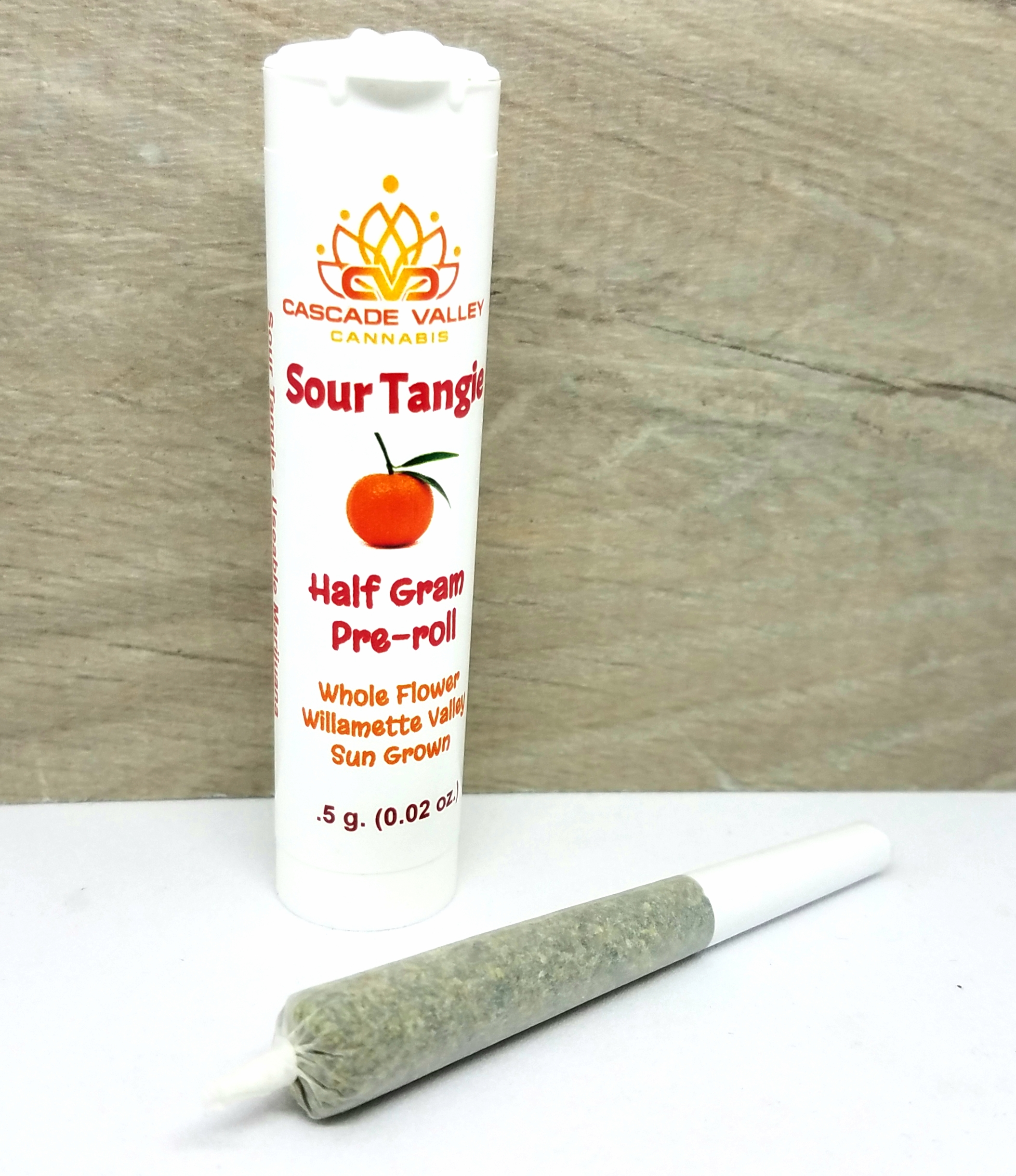 Sour Tangie 1/2g pre-roll grown and produced by Cascade Valley Cannabis