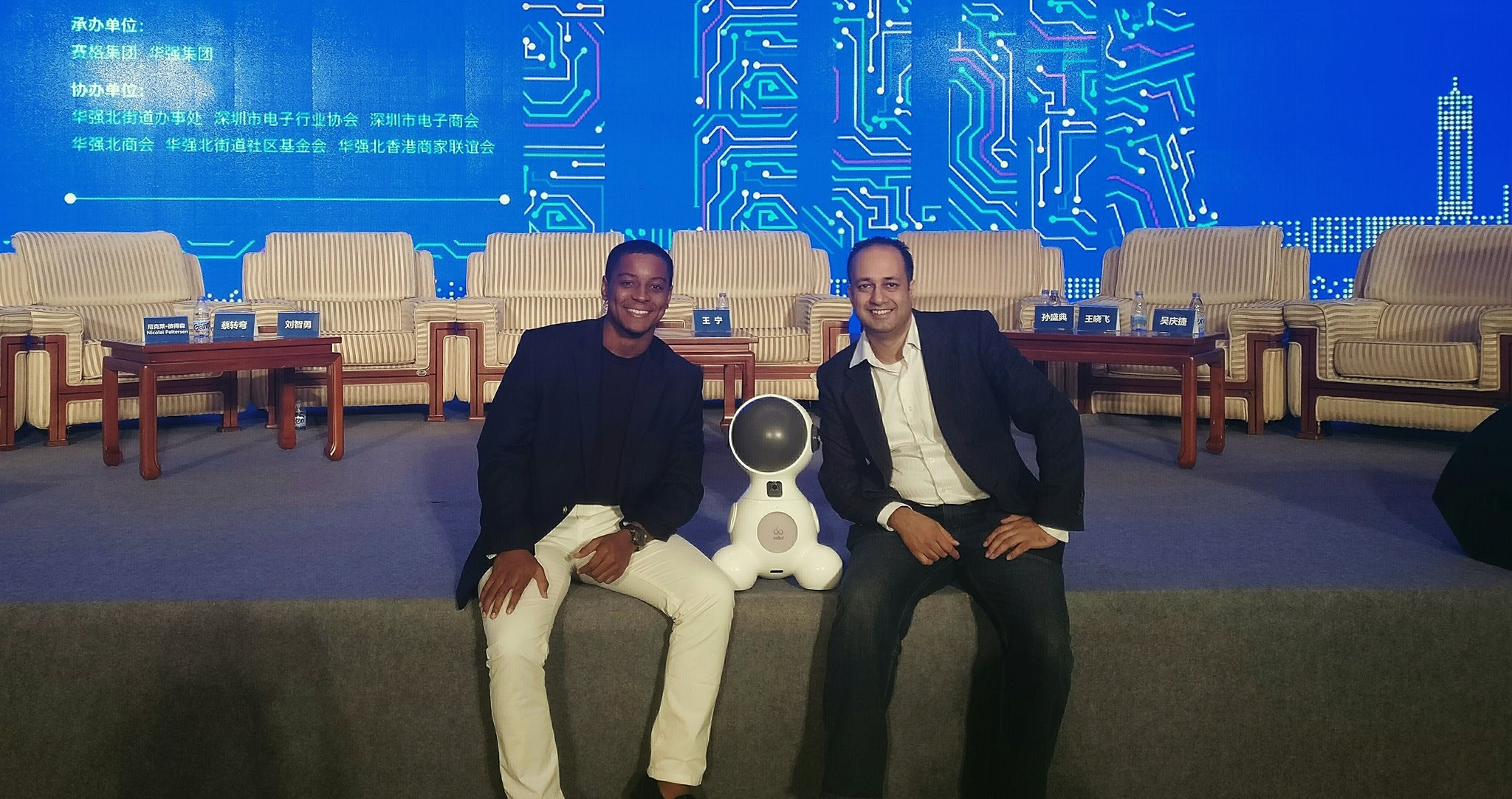 - James Kirk (left; S'15) spent the summer of 2016 studying abroad in Shenzhen, China and interning at 7 Senses. While there, James helped code for the Facial Recognition of Solbit, a robot aimed at helping children with disabilities in educational settings. James chose to accept a full-time, paid role at 7 Senses and has been on the grind ever since. We're very proud of you, James, and don't let up over there!
