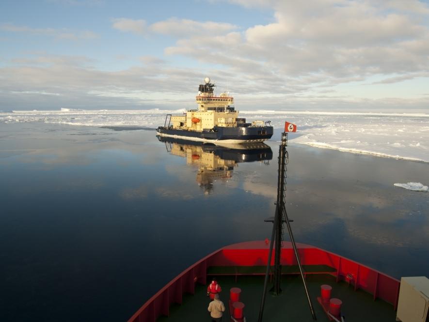 U.S. Research Icebreaker Nathaniel B. Palmer Meeting Swedish Icebreaker Oden