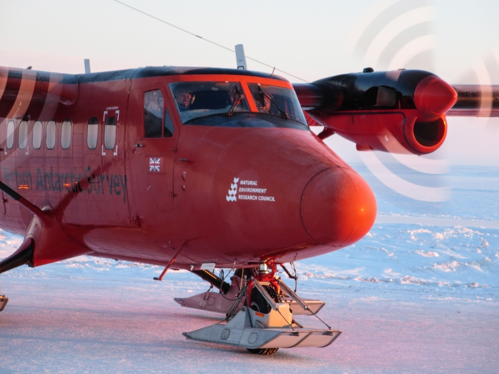 British Antarctic Survey Twin Otter preparing to take off from an ice camp.