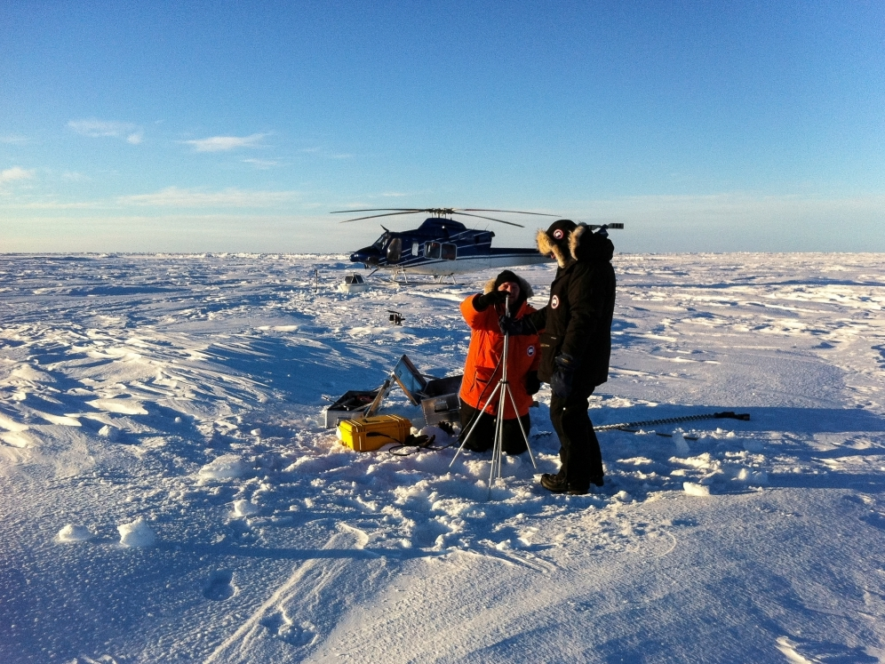 Springtime deployment of an Ice Mass Balance Buoy, using helicopter support from a nearby MIZ ice camp.