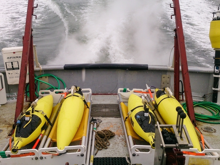 Seagliders and SWIFT buoys enroute from Prudhoe Bay aboard R/V Ukpik for a July deployment at the ice edge.