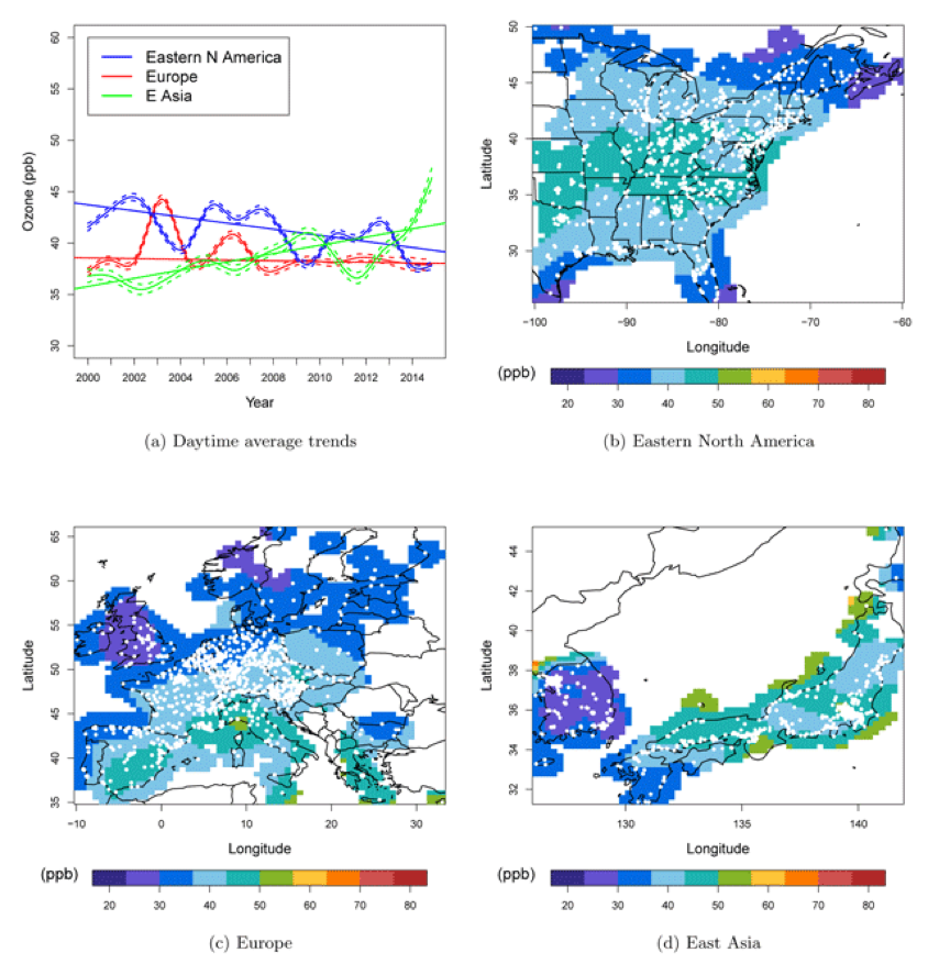 A comparison of regional ozone trends across eastern North America, Europe and East Asia. See TOAR Special Feature article by Chang et al., 2018: https://doi.org/10.1525/elementa.243.f9