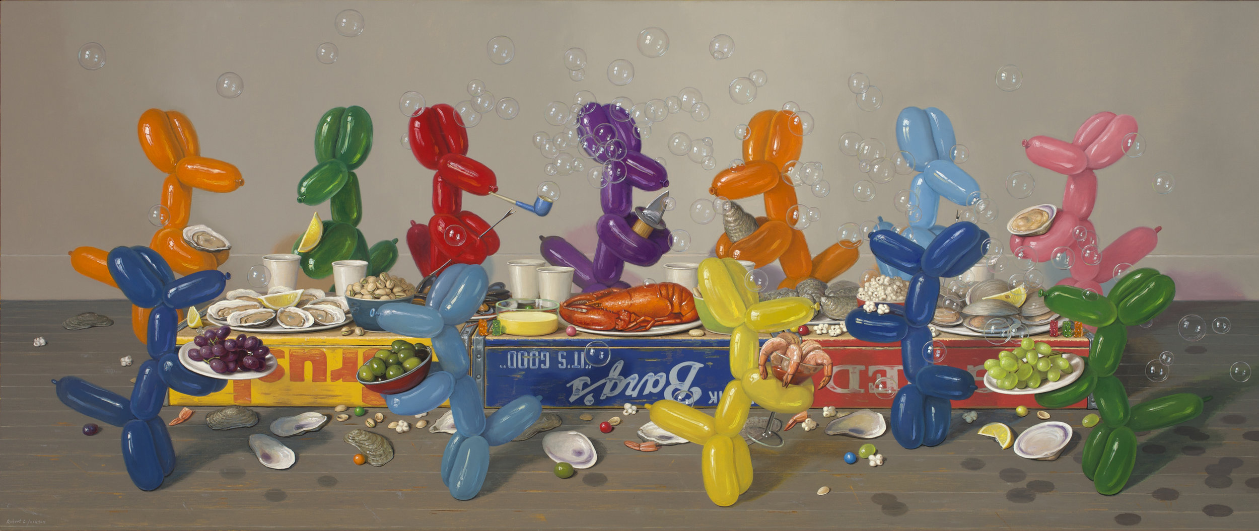 "Enough With the Bubbles, Oil on linen 30"" x 72"""