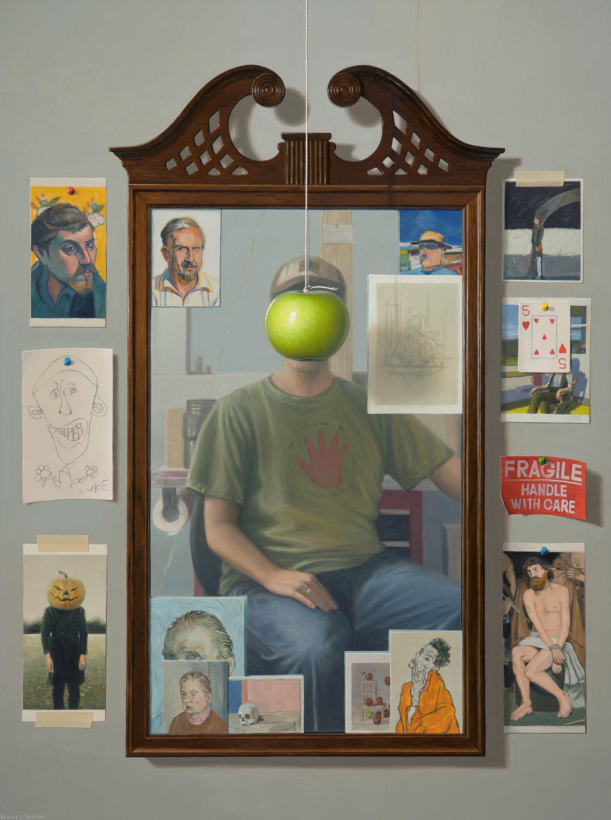 """The Apple Guy. Oil on linen 40"""" x 30"""""""
