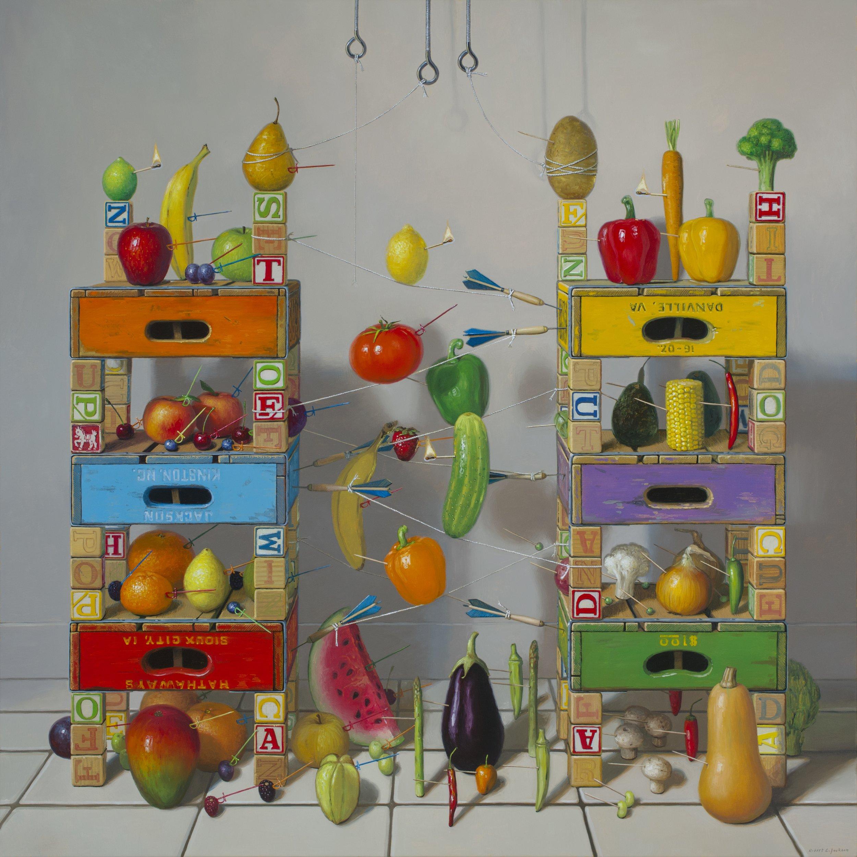 """Fruits vs. Vegetables, Oil on Linen 48""""x48"""""""