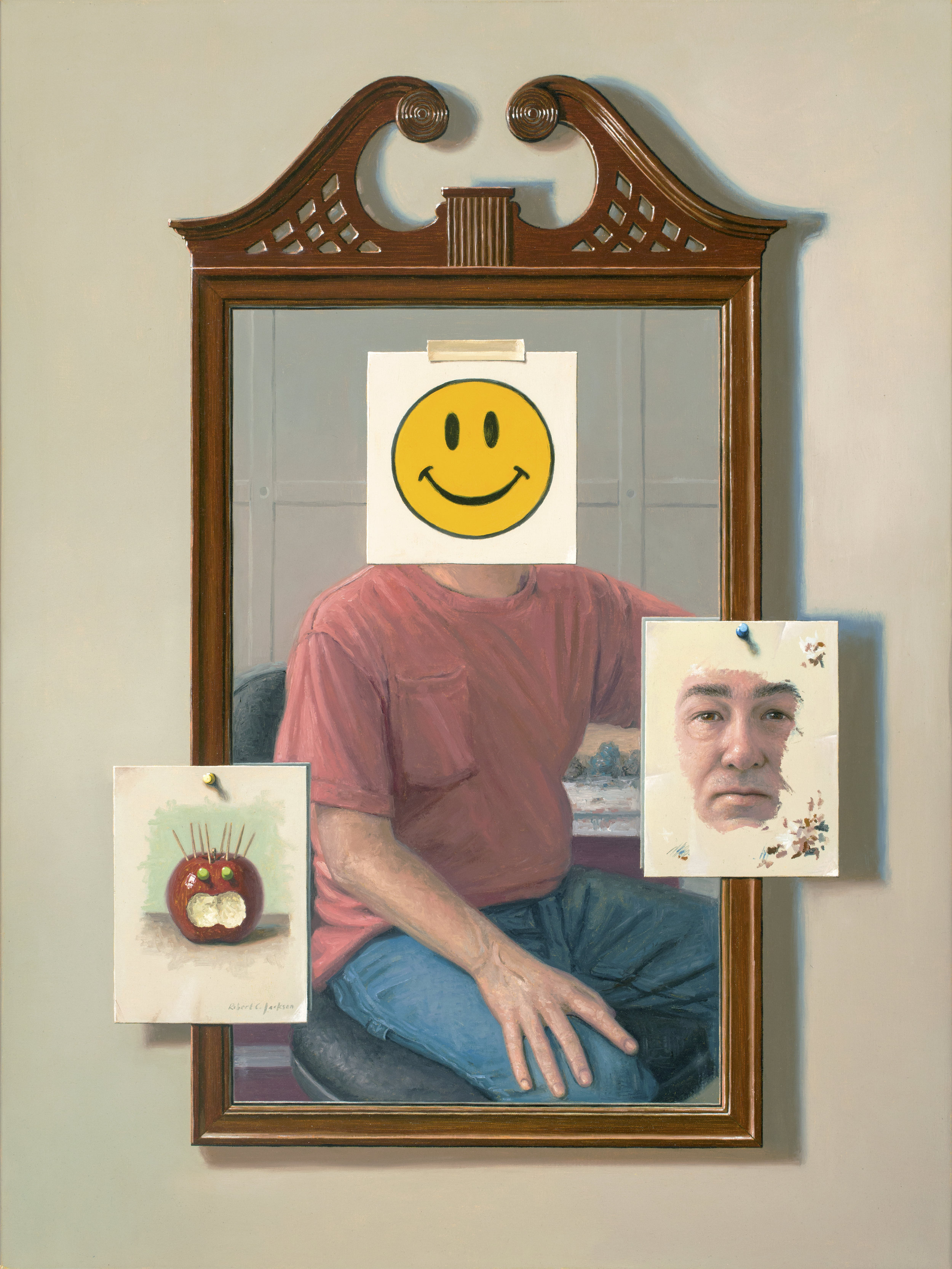 "Putting on a Happy Face, Oil on Linen 40""x30"""