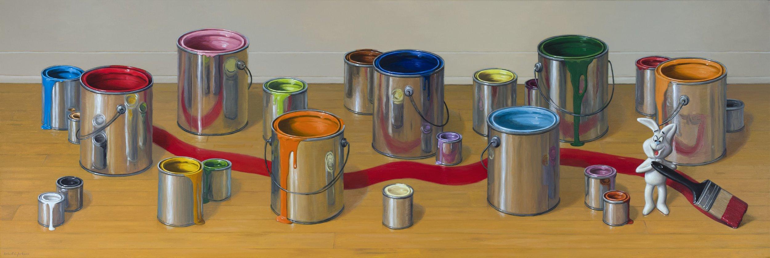 "The Artist, Oil on Linen 24"" x 72"""