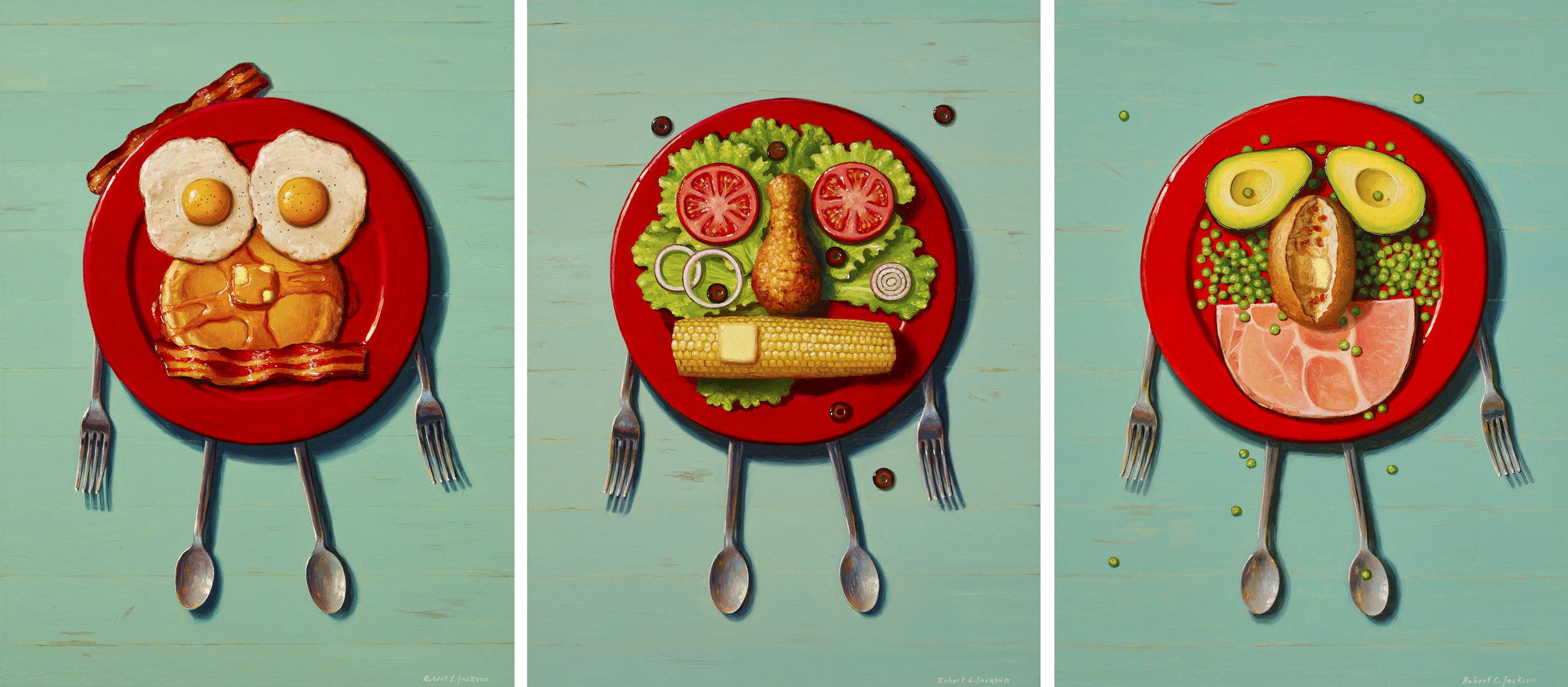 "Playing With My Food, Oil on Linen triptych 24"" x 18"""