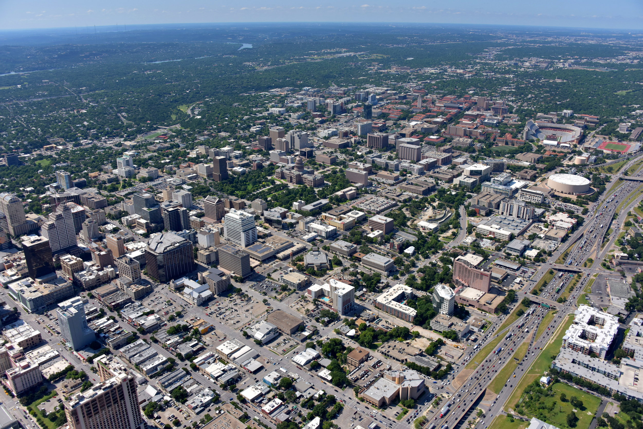 Downtown CBD, Texas State Capitol and The University of Texas, Austin, Texas - Austin Aerial Photography - Austin, TX