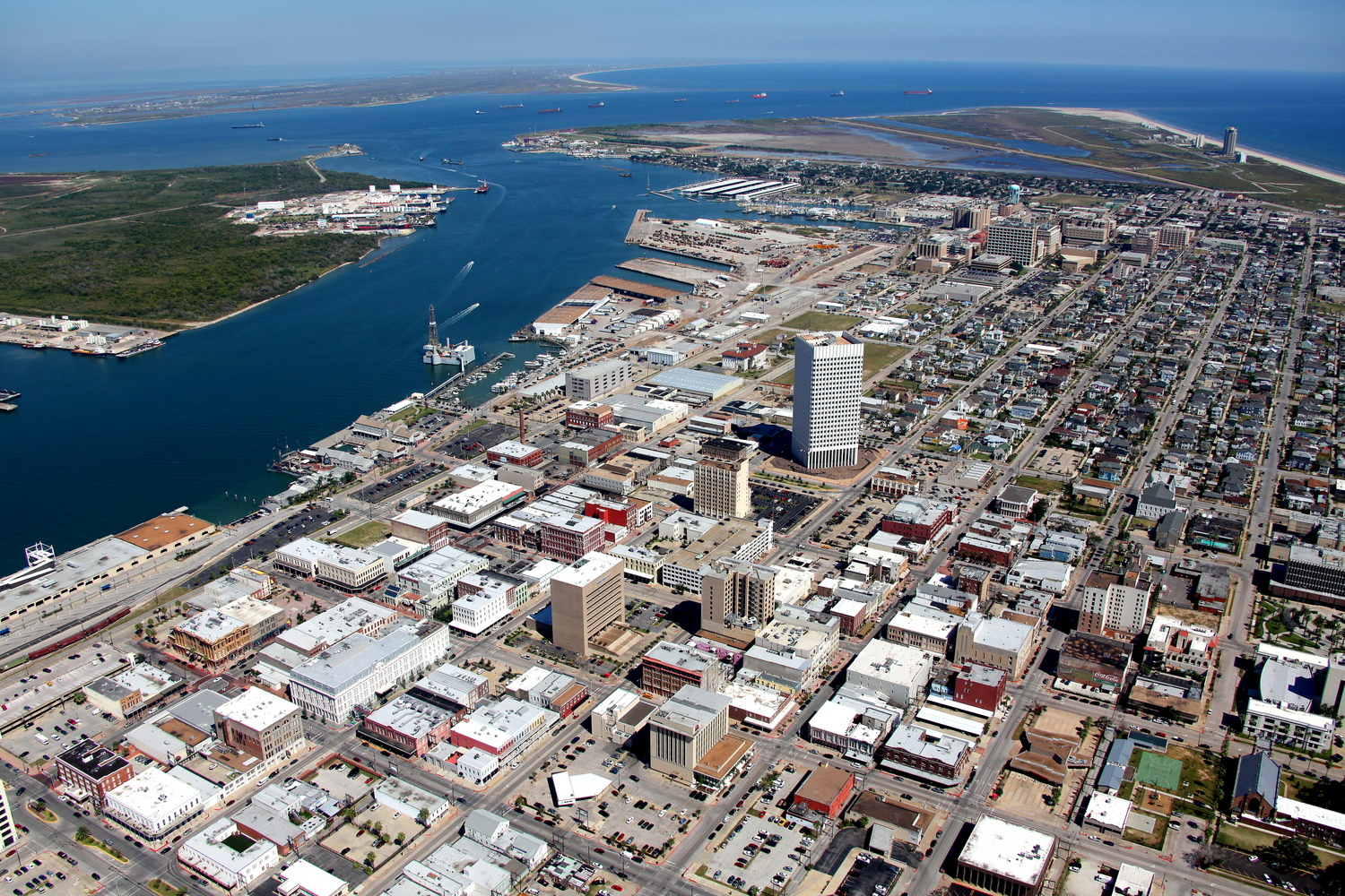 Downtown CBD, Galveston, Texas - Galveston Aerial Photographer - Aerial Drone Image - Aerial Drone Video - Galveston, TX