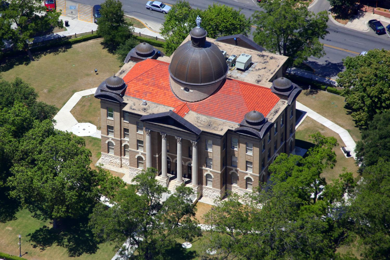 Hays County Courthouse , San Marcos, Texas - San Marcos Aerial Photographer - San Marcos Aerial Drone Image - Aerial Drone Video - San Marcos, TX - Central Texas