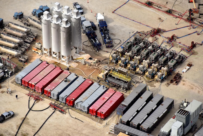Texas energy photography, aerial, drone, oil and gas, solar, wind energy, frac site, Odessa, TX