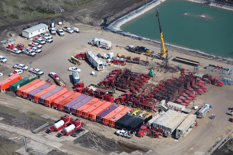 Texas energy photography, aerial, drone, oil and gas, solar, wind energy, frac site, Laredo, TX