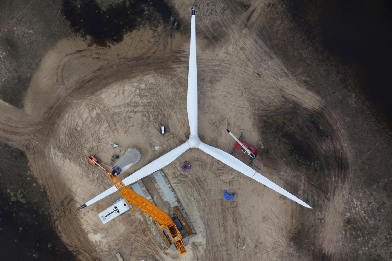 Wind Turbine Construction, Corpus Christi, Texas - Aerial Construction Photography