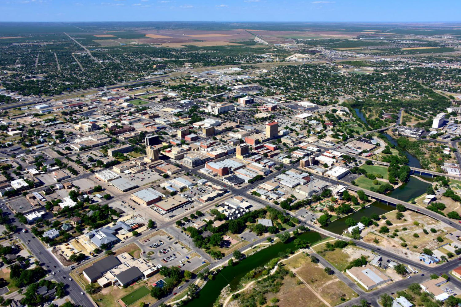 Downtown CBD - San Angelo Aerial Photographer - Aerial Drone Image - Aerial Drone Video - San Angelo, TX - West Texas