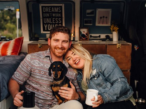 We're Natalie and Nick (and our side-pup, Peaches!) - When we first started our business, we were living & traveling out of our converted camper-van. After calling our van home for over 2 years, we recently made the change of living in a home part-time in Minnesota! We are still constantly traveling, but we wouldn't have it any other way. :)