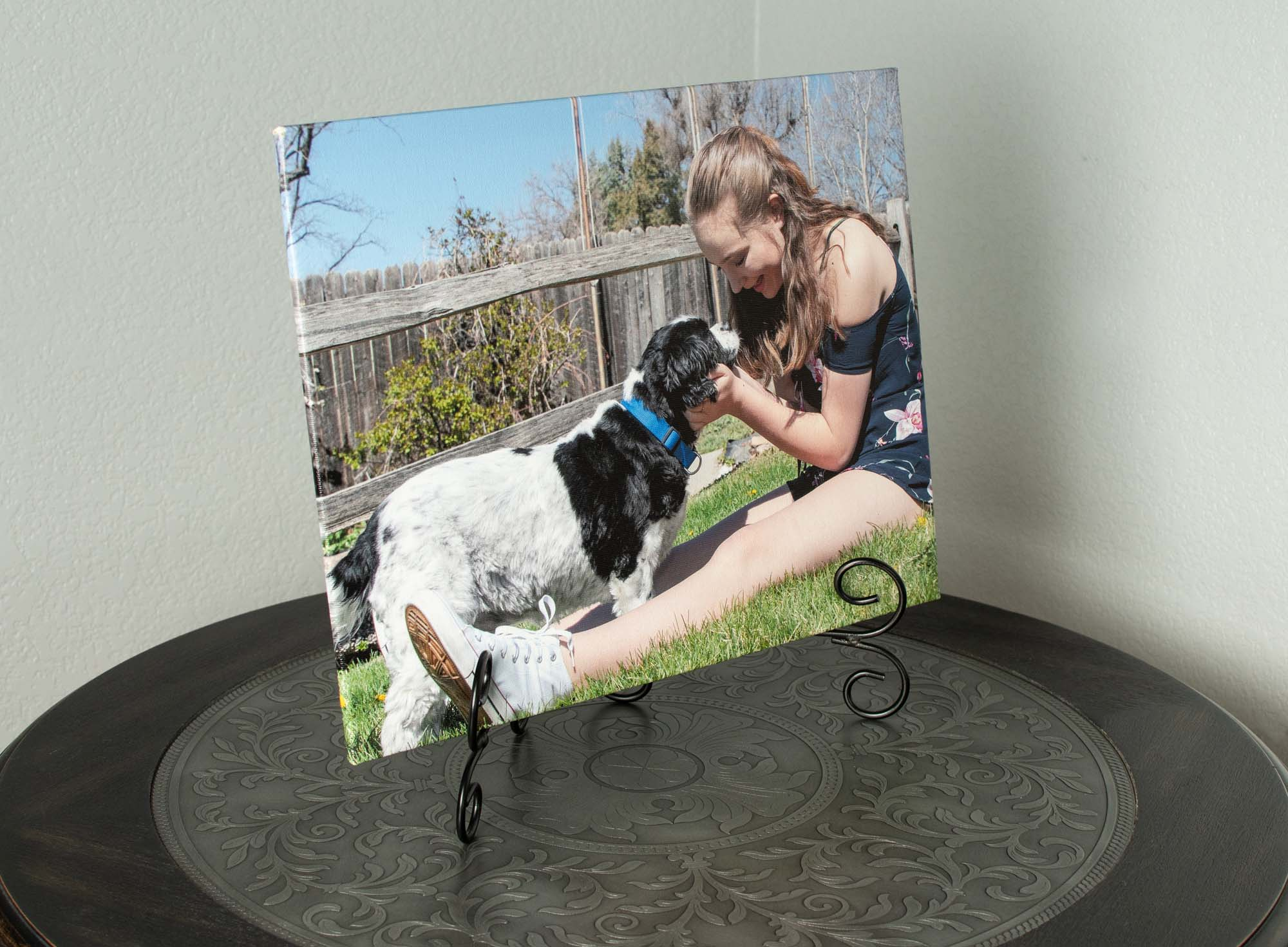Canvas Floats - The same quality canvas printing as our gallery wraps, only this canvas product is wrapped around a lightweight gatorfoam board, giving it a more lightweight, modern feel. Canvas floats are finished with black paper backing and a foam floater block with pre-drilled holes for hanging.