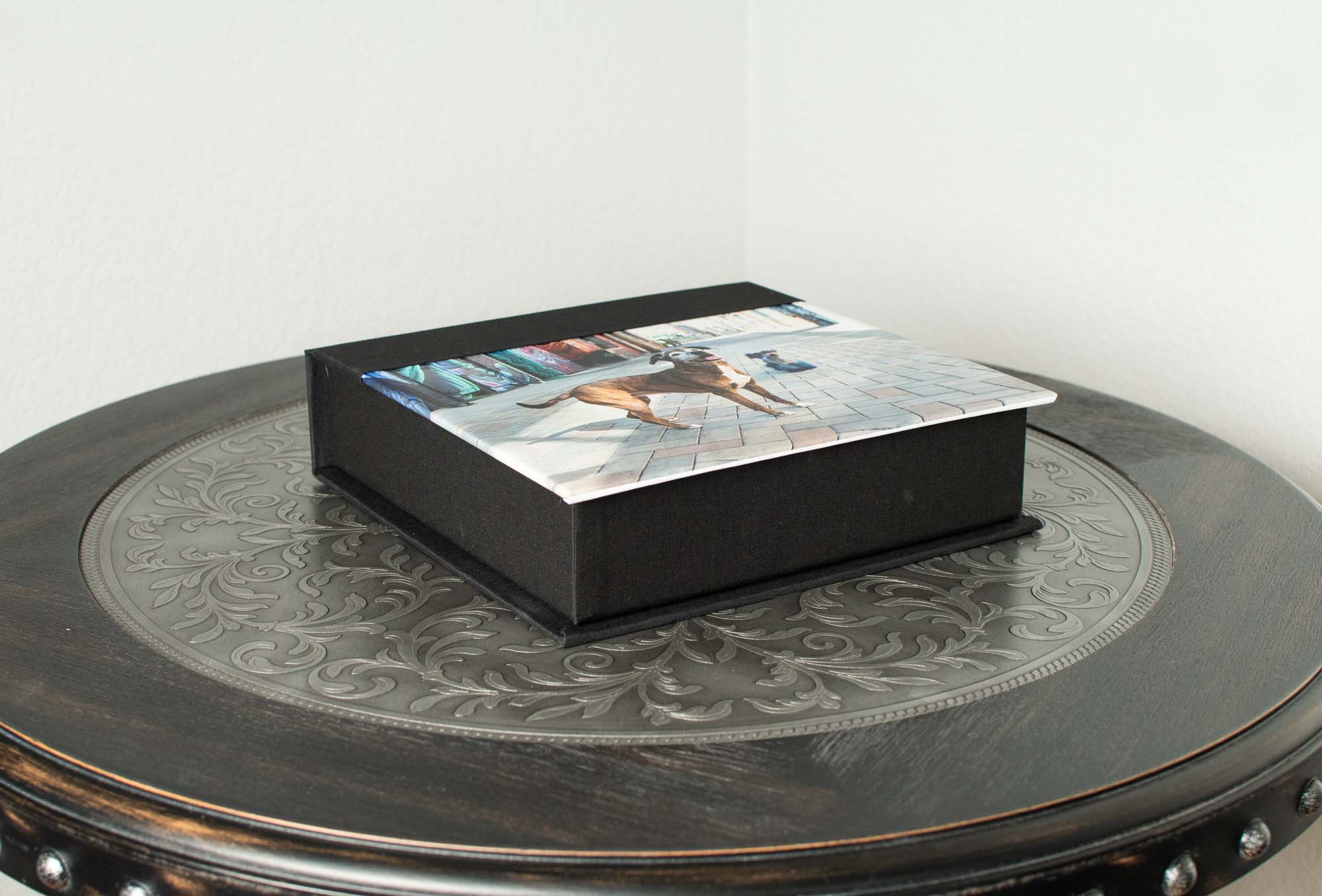 Custom Photo Boxes - Keep your cherished memories safe in a custom photo box. Choose your favorite 5 or 10 images to store in a keepsake box that is elegant enough to be displayed anywhere in your home. Images are mounted on a durable styrene material to ensure that they can be enjoyed for years to come. Available in a wide range of colors.