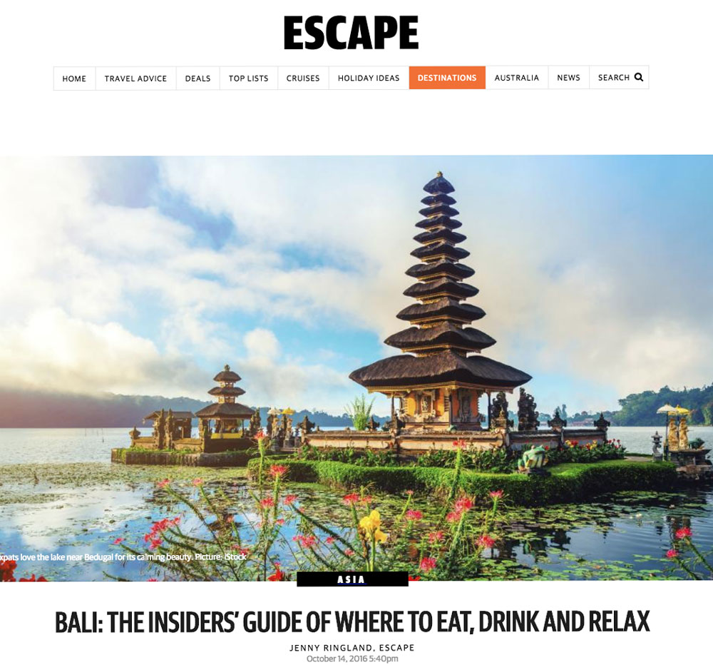 Featured in Escape Magazine   CLICK TO SEE MORE