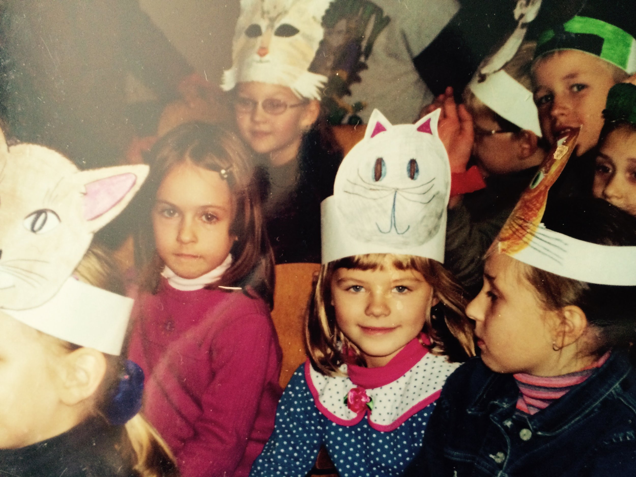 For a musical play in elementary school we were all cats and made our own hats. I however, obviously didn't get the memo that everyone else just had their parents draw their cat hats for them.