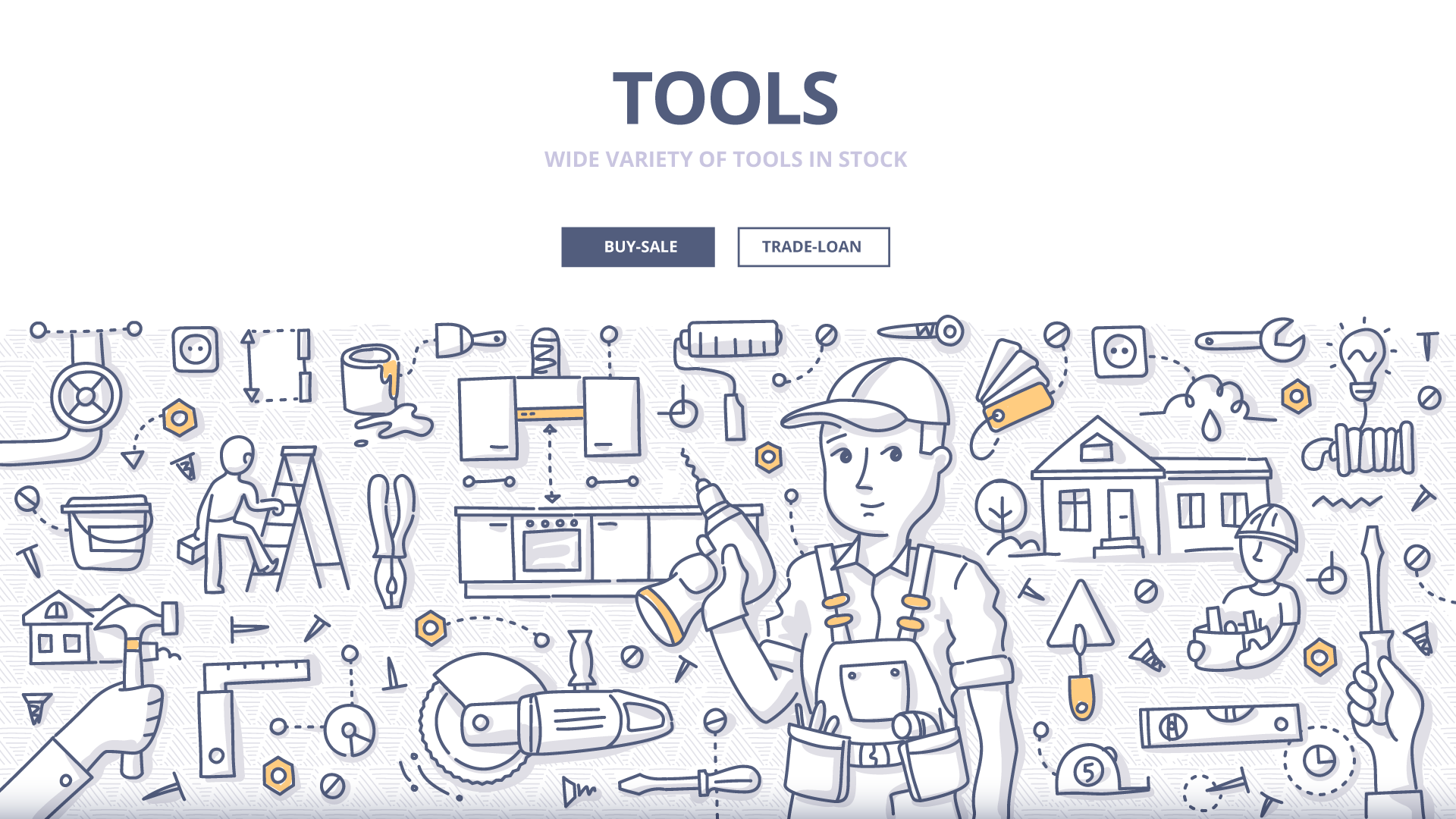 Tools doodle drawing