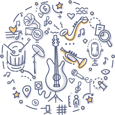 Musical-Instruments doodle drawing