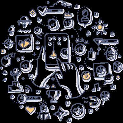 Gaming Handheld doodle drawing