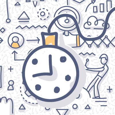Pocket watch doodle drawing