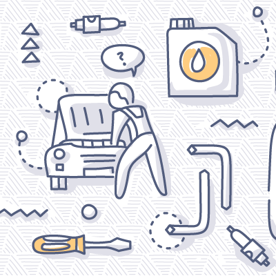 Automotive Tools doodle drawing