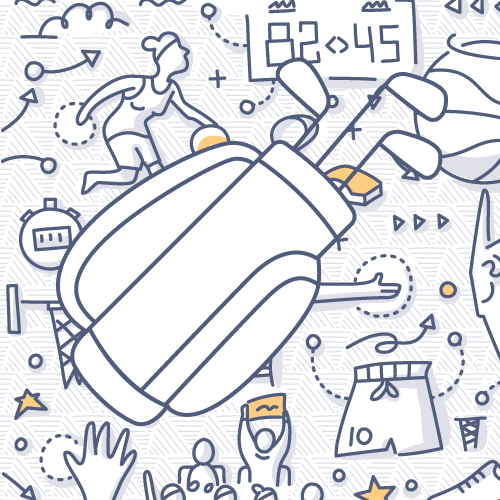 Golf Clubs doodle drawing