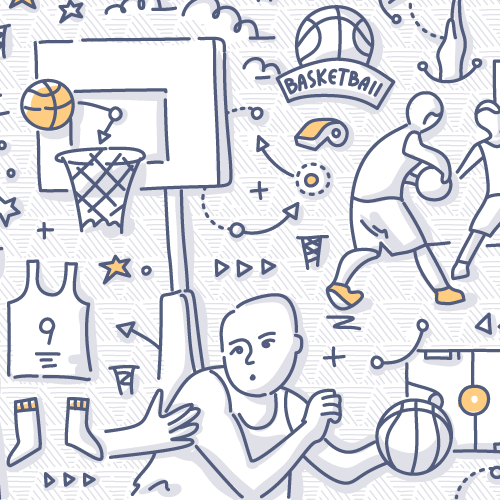Sports doodle drawing