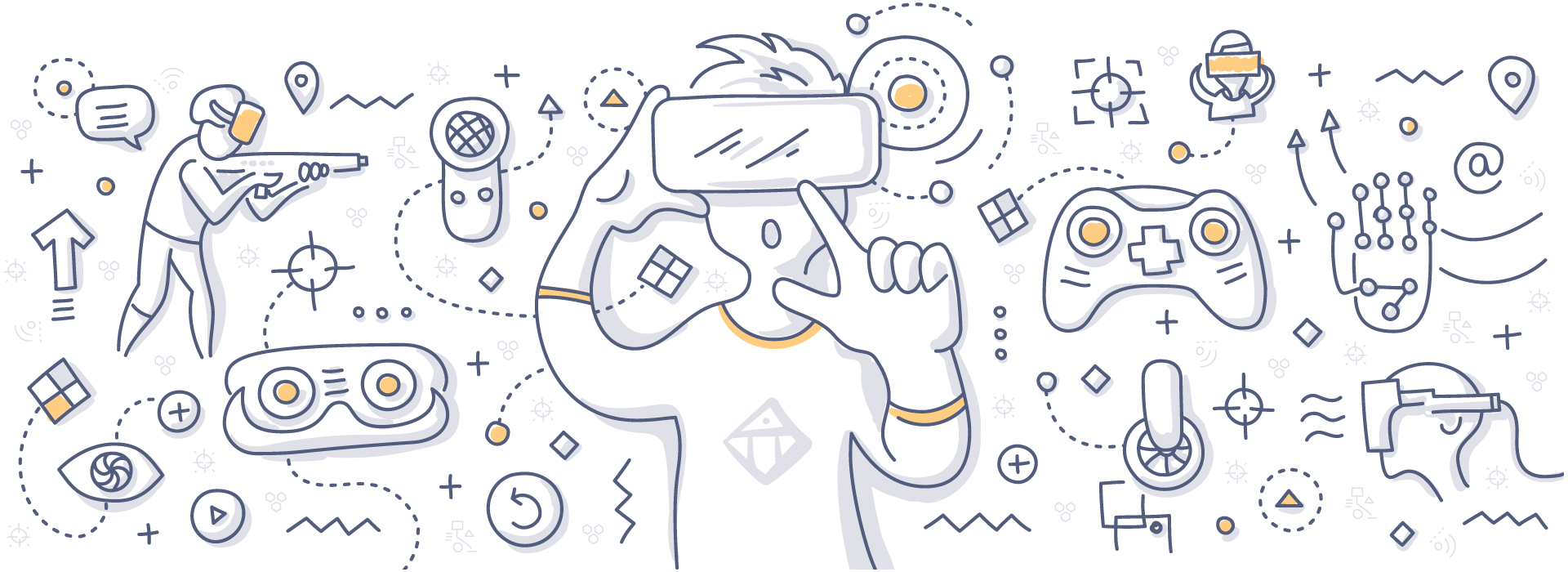 Doodle of virtual reality gaming