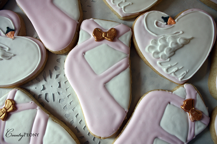 Swan and Ballet Shoes Cookies for Swan Lake First Birthday Party