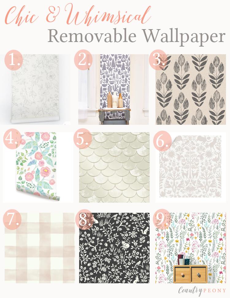 Chic, Feminine & Whimsical Removable Wallpaper