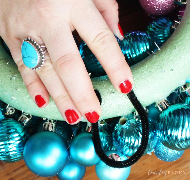 DIY Rainbow Bauble Christmas Wreath