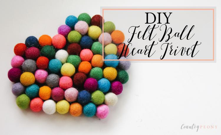 DIY Felt Ball Heart Trivet